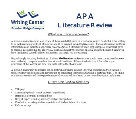 literature review template doc 10 literature review outline templates pdf doc free
