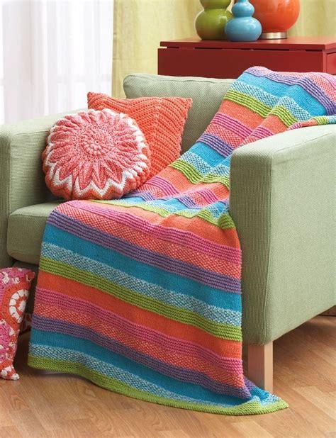 free knitting patterns with cotton yarn yarnspirations bernat striped blanket free pattern