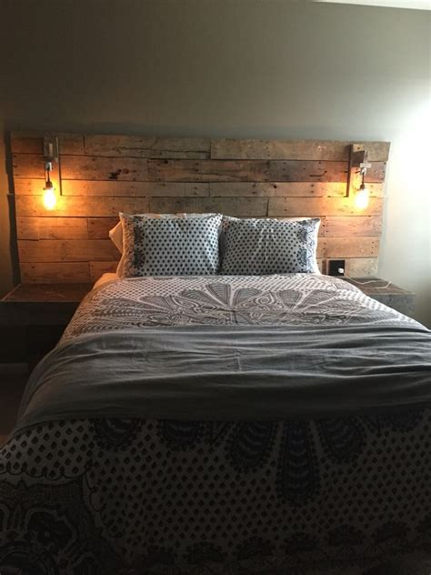 Teen Bedroom Pallet Headboard And Mason Jar Lights Urban Bedroom Headboard Lighting