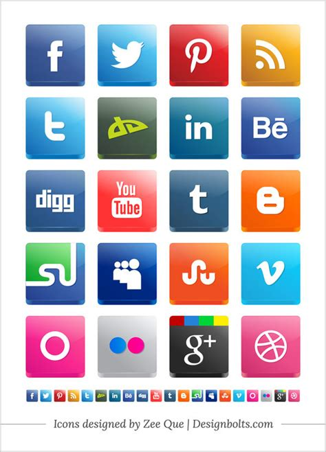 Free Vector 3D Social Media Icon Pack 2012 Including New ...