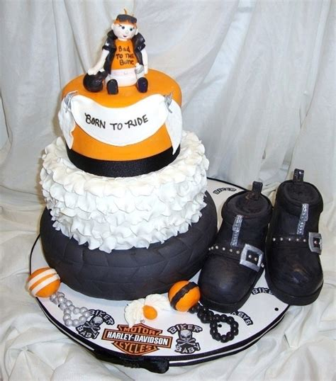 Baby Shower Motorcycle Cake by Harley Davidson Baby Shower Cakecentral