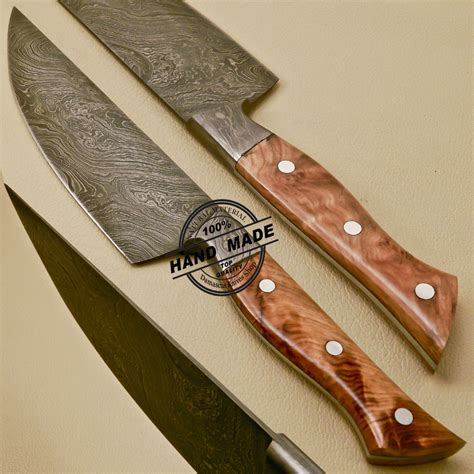 made kitchen knives damascus kitchen knife custom handmade damascus kitchen knife with cow handle 830