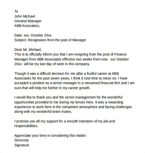 Resignation Letter Sle Bank Manager Sle Resignation Letters 9 Free Documents In Pdf Word