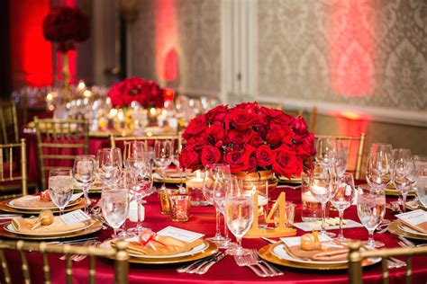 romantic red  gold wedding featured   weddings