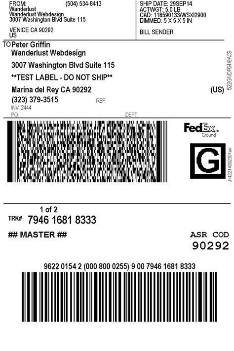 Print Fedex Shipping Labels Woocommerce Plugin Shipping Label Template Pdf