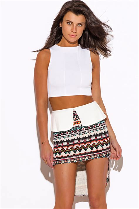Muvidya Ethnic Peplum Mini Dress by Shop Ethnic Print High Low Peplum Scuba Pencil Mini Skirt