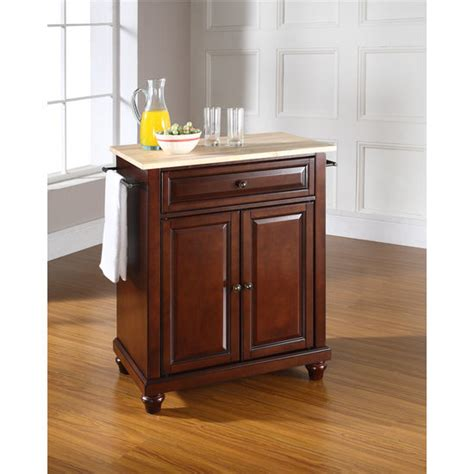 white kitchen island with natural top crosley furniture cambridge natural wood top portable