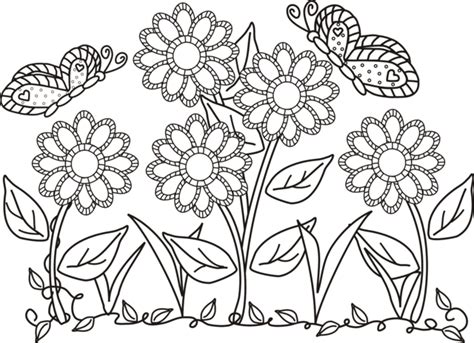 free coloring pictures of flowers and butterflies flowers and butterflies coloring page getcoloringpages