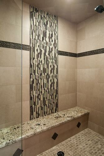 vertical tile bathroom vertical shower tile pattern and bench skyline design