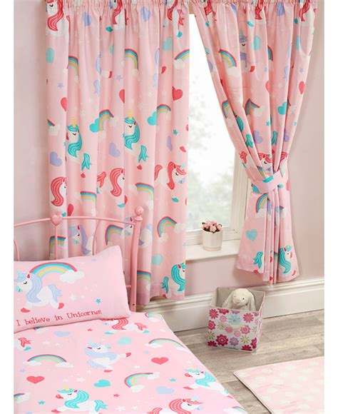 pink curtains 72 drop i believe in unicorns lined curtains