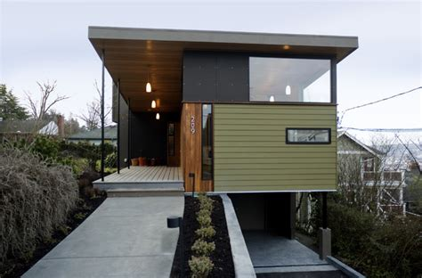 modern shotgun house shelton rynd residence modern exterior seattle by
