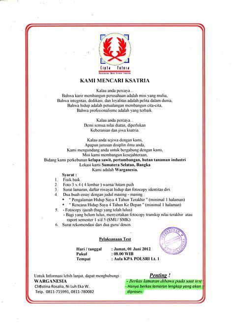 format surat lamaran kerja perkebunan kelapa sawit pt cipta futura jcdc