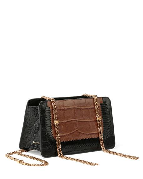 lanvin boxy bicolor croc embossed shoulder bag