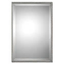 bathroom mirrors brushed nickel brushed nickel sherise rectangle mirror uttermost