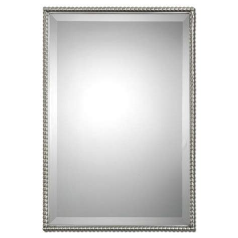 brushed nickel sherise rectangle mirror uttermost