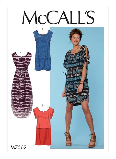 pattern hoodie dress mccall s 7562 misses pullover dresses with sleeve ties