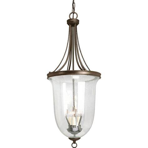 Bronze Foyer Light Progress Lighting Seeded Glass Collection 6 Light Antique