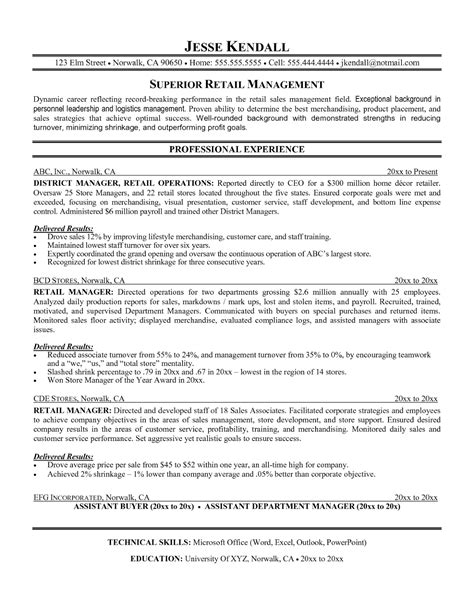Store Manager Resume Exles by Retail Assistant Manager Resume Objective 28 Images