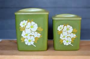 Green Kitchen Canisters by Items Similar To On Sale Set Of 2 Retro Green Kitchen