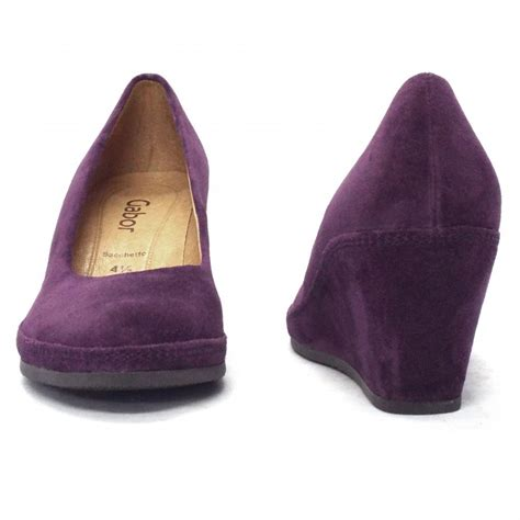 purple shoes for gabor shoes teller womens wedge shoe in purple suede