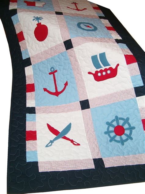 Nautical Patchwork Quilt - nautical quilt patchwork pirate quilt ship s bedding