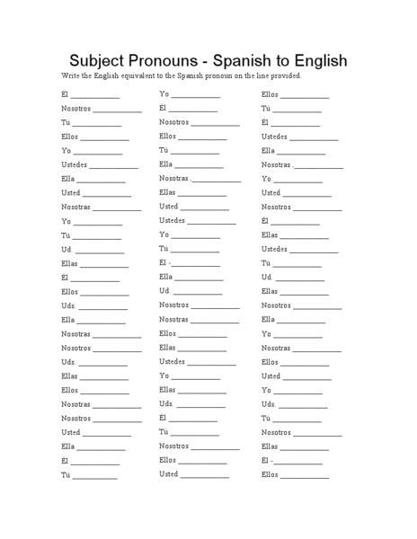 printable english to spanish worksheets worksheets subject pronouns in spanish worksheet