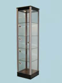 Display Cabinets Black Glass Display Cabinet With Corner Ligfhts 183 Designex
