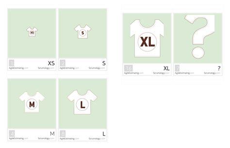 Agile Estimating Cards T Shirt Sizes Scrumology Pty Ltd T Shirt Sizing Estimation Template