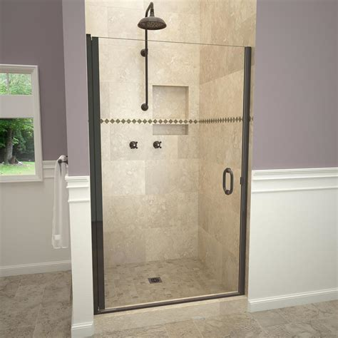 1200 Pivot Shower Door Redi Swing 1200 Series 34 In W X 72 In H Semi Frameless Pivot Shower Door In Rubbed Bronze