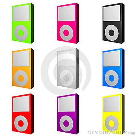 color mp3 mp3 players in various trendy colors stock images image