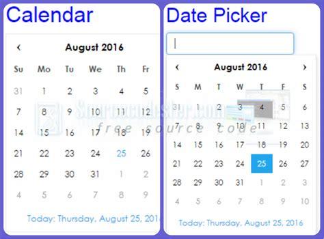 calendar design using jquery simple calendar date picker using jquery plugin free