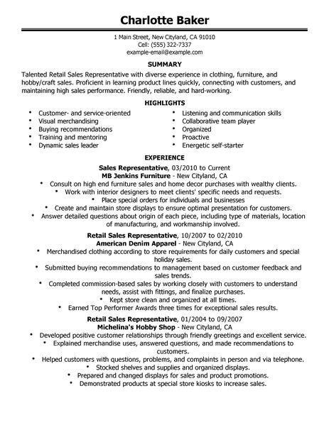 best rep retail sales resume exle livecareer