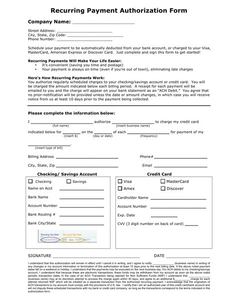 credit card recurring payment authorization form in word and pdf formats