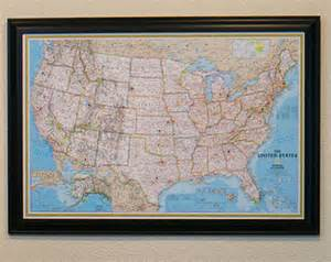 classic us travel map with pins and frame push pin