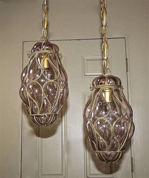 Venetian Glass Pendant Lights Pair Of Venetian Murano Amethyst Caged Glass Pendant Or Lantern Ceiling Lights For Sale At 1stdibs