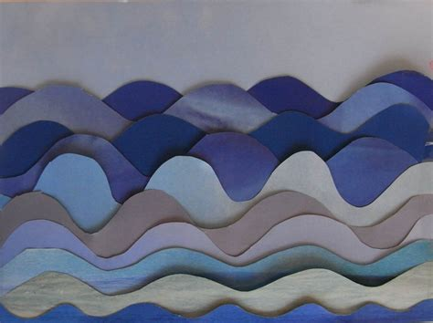 How To Make Waves With Paper - 3d painting paper patchwork cards