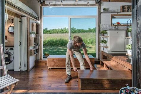 new frontier tiny homes luxurious alpha tiny house opens wide on both sides to let