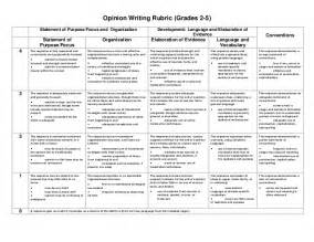 Five Paragraph Essay Rubric Middle School by Opinion Writing Rubric Grades 2 5