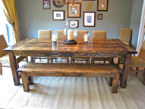 Farmhouse Dining Room Table And Chairs with How To Make Farmhouse Benches Aptsforrent