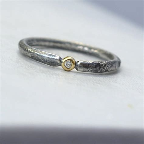 rustic unique engagement ring with small