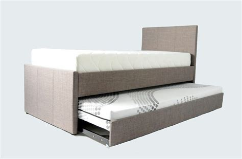 cuba grey fabric single bed frame with pull out guest bed
