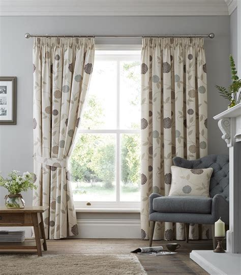 beige and cream curtains climbing chrysanthemums beige cream pencil pleat lined
