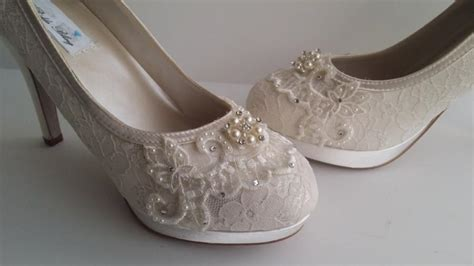 Wedding Shoes With Pearls And Crystals by Ivory Lace Wedding Shoes Ivory Or White Bridal Shoes With