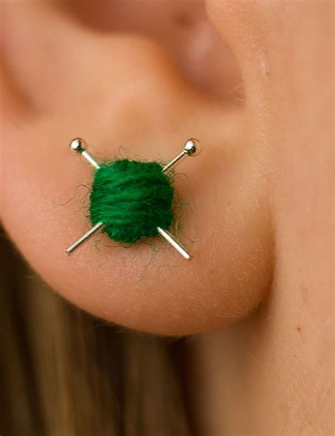 Ear Stud mini knitting earrings