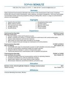 Communications Specialist Sle Resume by Fritz Pfeffer Quotes Quotesgram