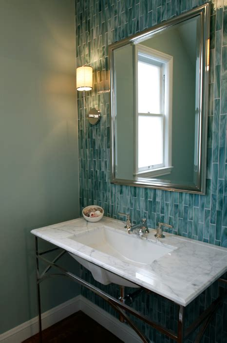 glass tile backsplash bathroom turquoise blue backsplash contemporary bathroom