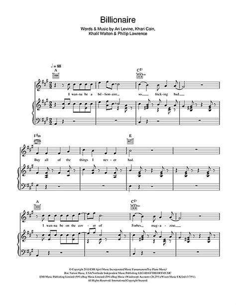 tutorial guitar billionaire billionaire sheet music by glee cast piano vocal