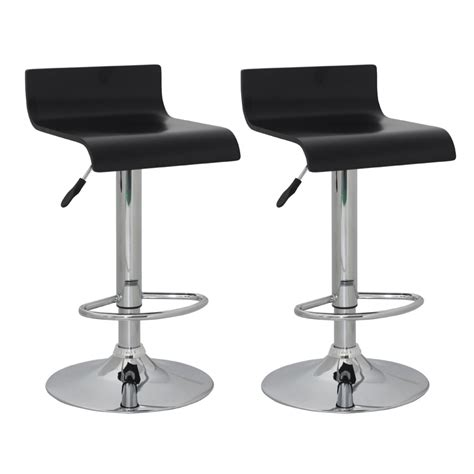 Bar Stool With Backrest Set Of 2 Black Bar Stool Wooden Seat With Low Backrest Vidaxl