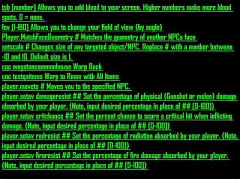 fallout 3 console codes fallout 3 console codes