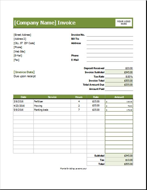 Lawn Care Invoice Template For Excel Excel Invoice Templates Landscaping Invoice Template